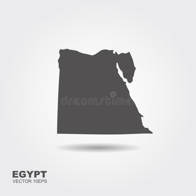 Χάρτης της Αιγύπτου σε γκρίζο σε ένα άσπρο υπόβαθρο ελεύθερη απεικόνιση δικαιώματος