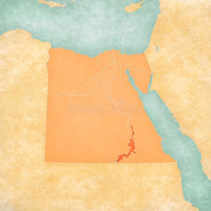 Χάρτης της Αιγύπτου - Aswan απεικόνιση αποθεμάτων