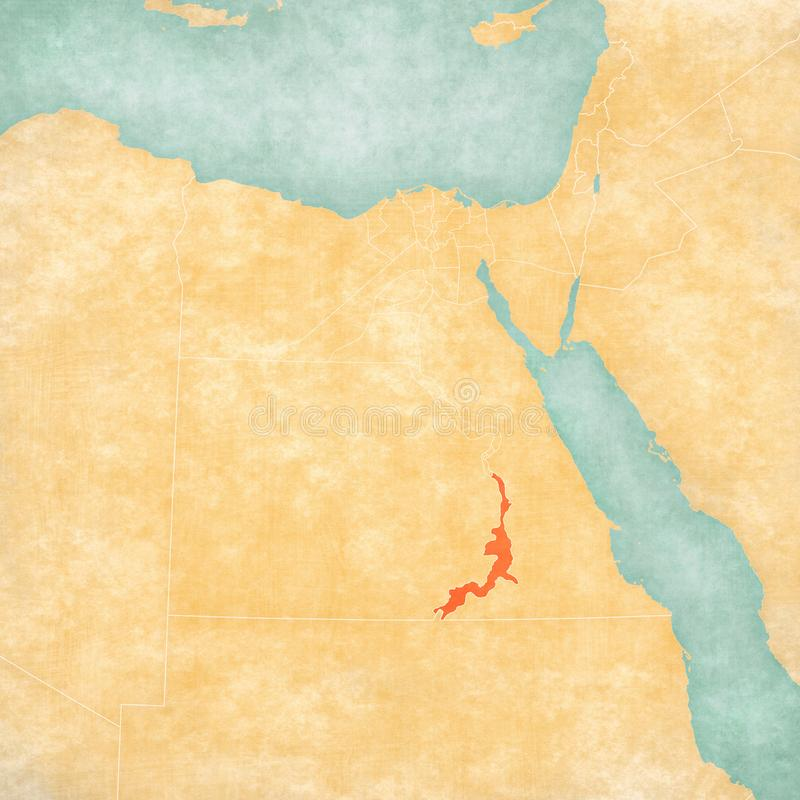 Χάρτης της Αιγύπτου - Aswan Governorate απεικόνιση αποθεμάτων
