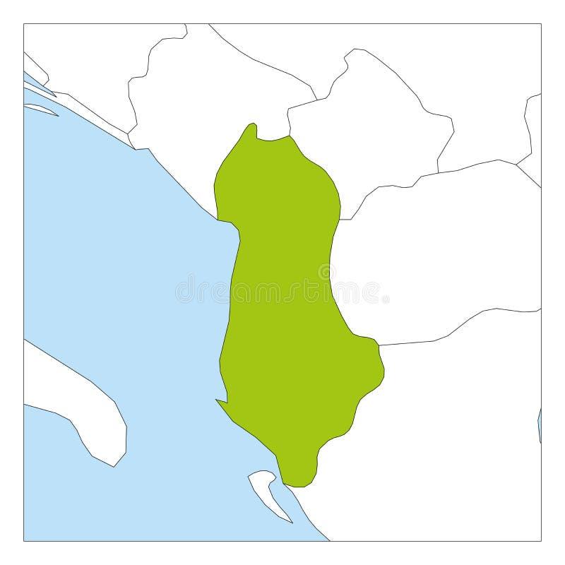 Χάρτης της Αλβανίας πράσινος που τονίζει με τις χώρες γειτόνων ελεύθερη απεικόνιση δικαιώματος