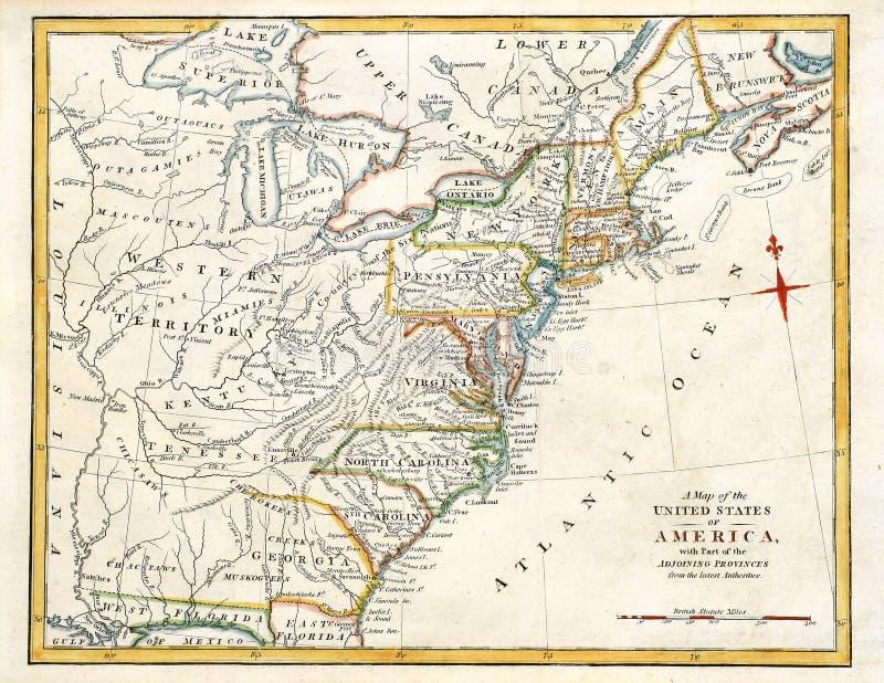 χάρτης της Αμερικής παλαι στοκ εικόνες με δικαίωμα ελεύθερης χρήσης