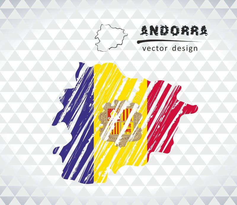 Χάρτης της Ανδόρας με σχεδιαζόμενο το χέρι χάρτη σκίτσων μέσα επίσης corel σύρετε το διάνυσμα απεικόνισης διανυσματική απεικόνιση