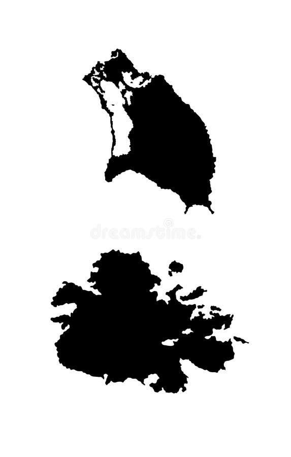 Χάρτης της Αντίγκουα και της Μπαρμπούντα διανυσματική απεικόνιση