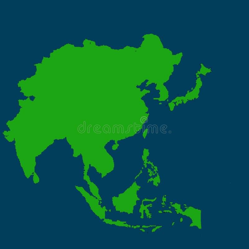 Χάρτης της Ασίας Pasific πράσινος ηπειρωτικός χρώμα απεικόνιση αποθεμάτων