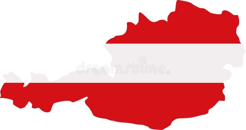 Χάρτης της Αυστρίας με τη σημαία διανυσματική απεικόνιση