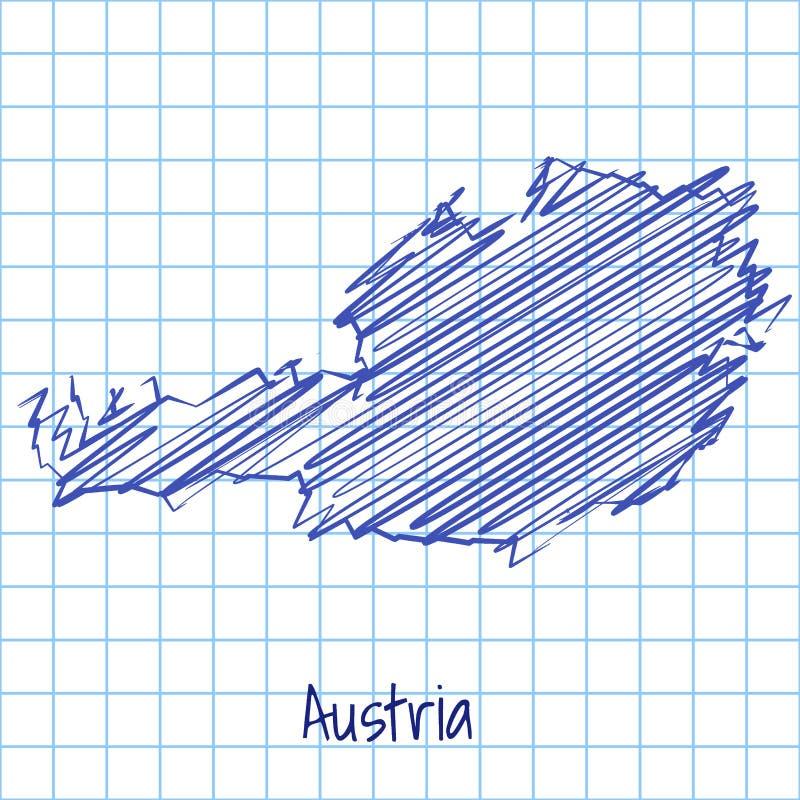 Χάρτης της Αυστρίας, μπλε αφηρημένο υπόβαθρο σκίτσων διανυσματική απεικόνιση