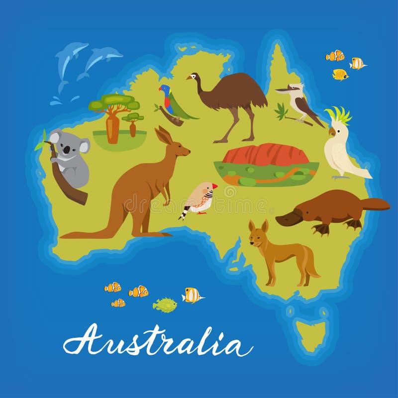 Χάρτης της Αυστραλίας με τα χαριτωμένα ζώα Διανυσματική αφίσα με το χάρτη της Αυστραλίας Αυστραλιανά ζώα ελεύθερη απεικόνιση δικαιώματος