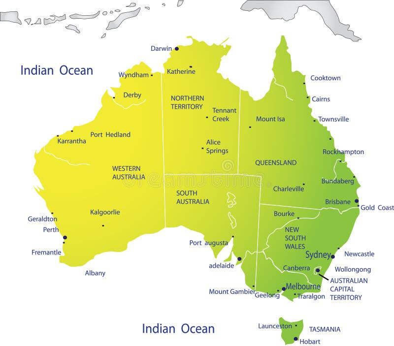 χάρτης της Αυστραλίας πολιτικός ελεύθερη απεικόνιση δικαιώματος