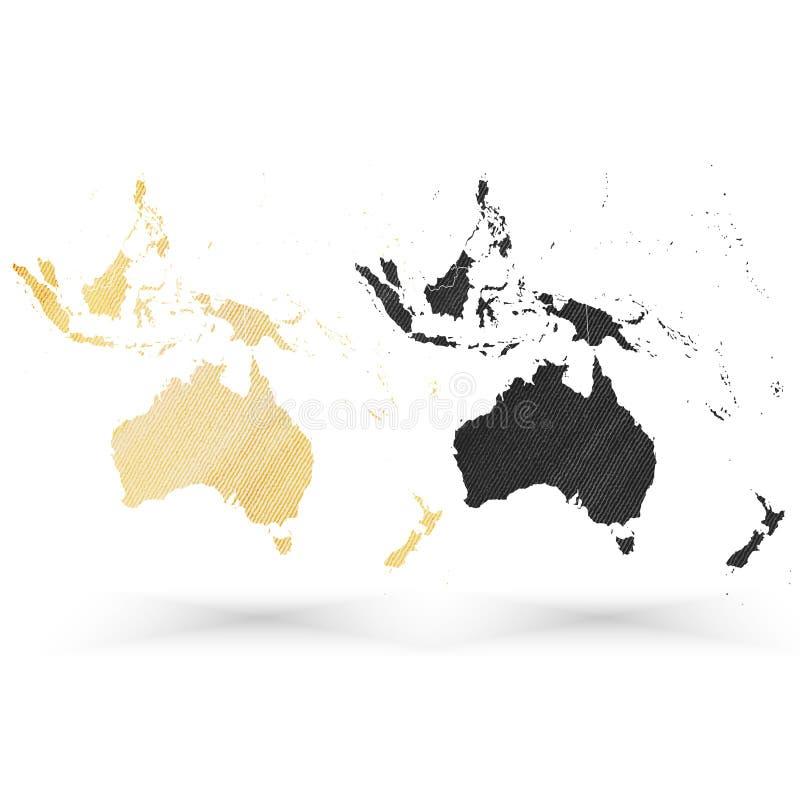Χάρτης της Αυστραλίας, ξύλινη σύσταση σχεδίου, διάνυσμα διανυσματική απεικόνιση