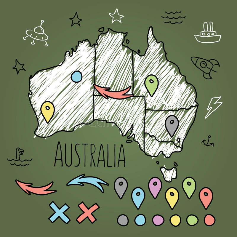 Χάρτης της Αυστραλίας Doodle στον πράσινο πίνακα κιμωλίας με τις καρφίτσες ελεύθερη απεικόνιση δικαιώματος