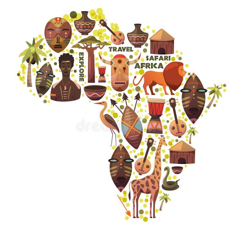 Χάρτης της Αφρικής με τα διανυσματικά εικονίδια Μάσκες, μουσική, ζώα, άνθρωποι Σαφάρι, ταξίδι και περιπέτεια εξερευνήστε το νέο κ διανυσματική απεικόνιση