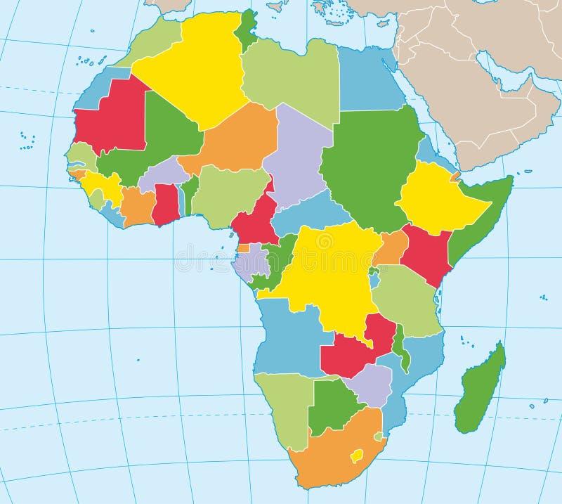 χάρτης της Αφρικής πολιτι&ka διανυσματική απεικόνιση