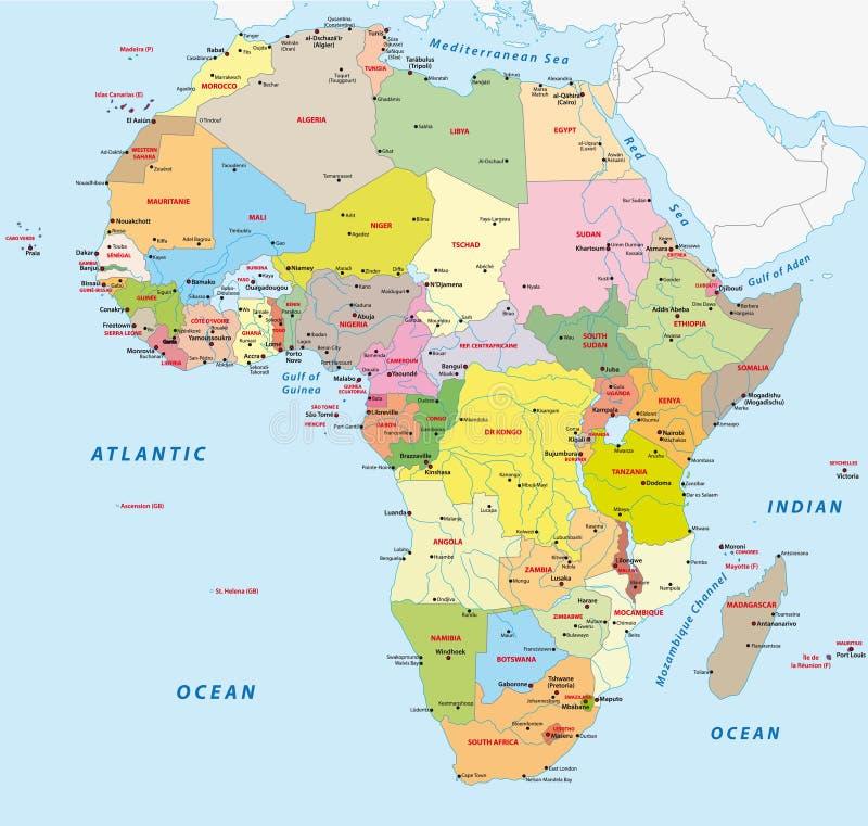 χάρτης της Αφρικής πολιτι&ka απεικόνιση αποθεμάτων