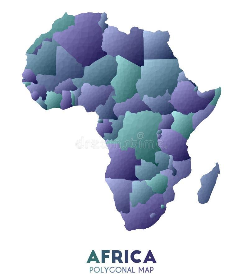 Χάρτης της Αφρικής πραγματικός χαμηλός πολυ χάρτης ηπείρων ύφους απεικόνιση αποθεμάτων