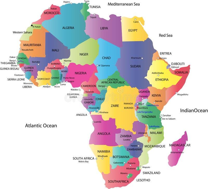 Χάρτης της Αφρικής διανυσματική απεικόνιση