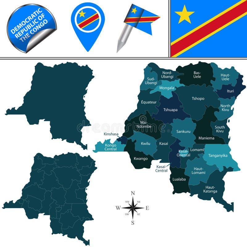 Χάρτης της λαϊκής Δημοκρατίας του Κονγκό διανυσματική απεικόνιση