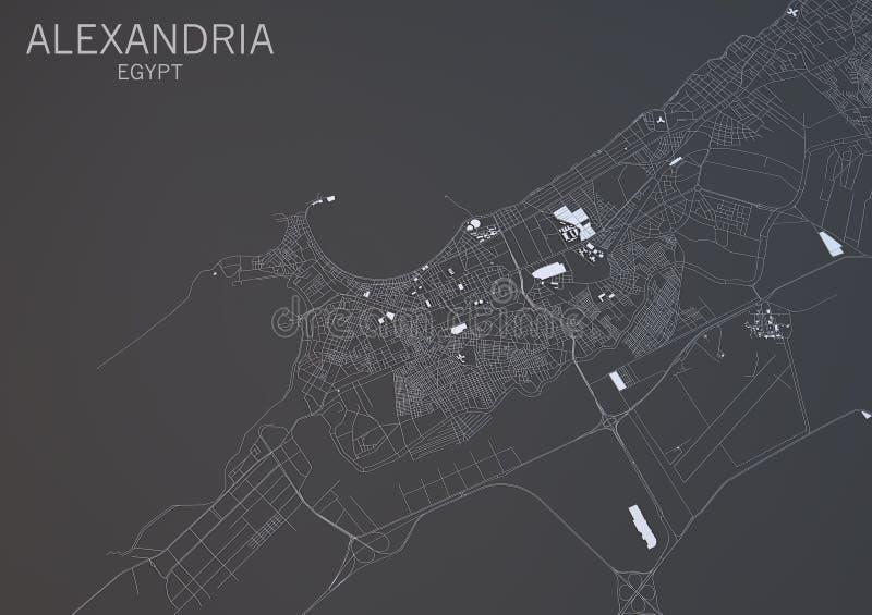 Χάρτης της Αλεξάνδρειας, Αίγυπτος, δορυφορική άποψη διανυσματική απεικόνιση