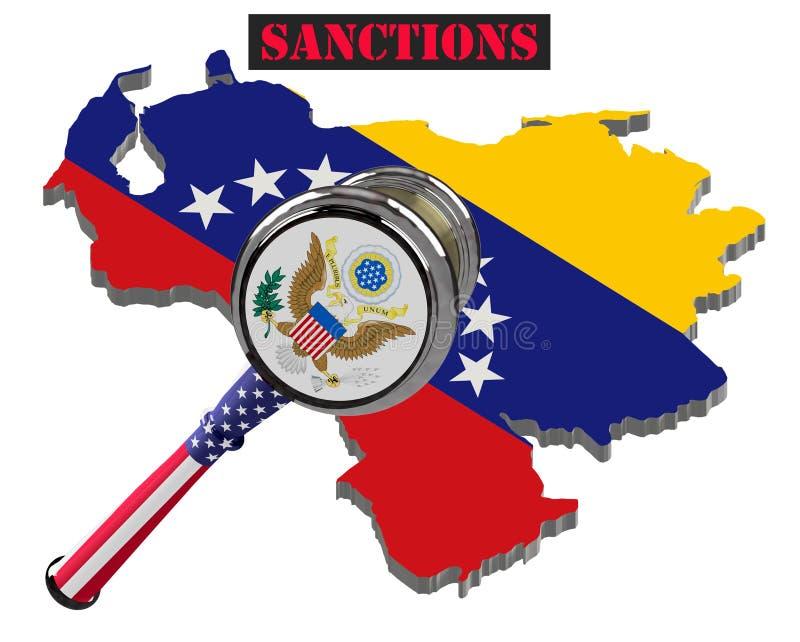Χάρτης της Βενεζουέλας Ηνωμένες κύρωση ενάντια στη Βενεζουέλα Σφυρί Ηνωμένες Πολιτείες της Αμερικής δικαστών, σημαία και έμβλημα  διανυσματική απεικόνιση