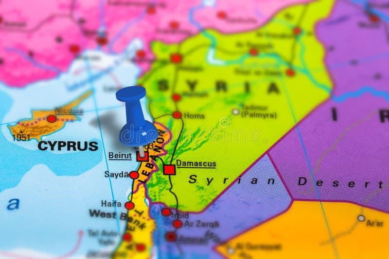 χάρτης της Βηρυττού Λίβανο στοκ εικόνα
