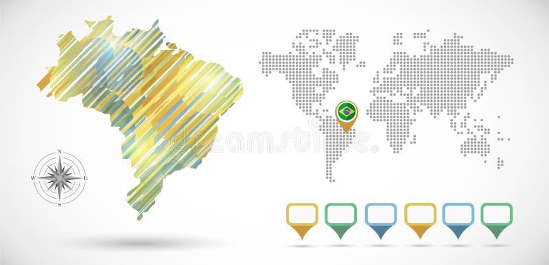 Χάρτης της Βραζιλίας Infographic ελεύθερη απεικόνιση δικαιώματος