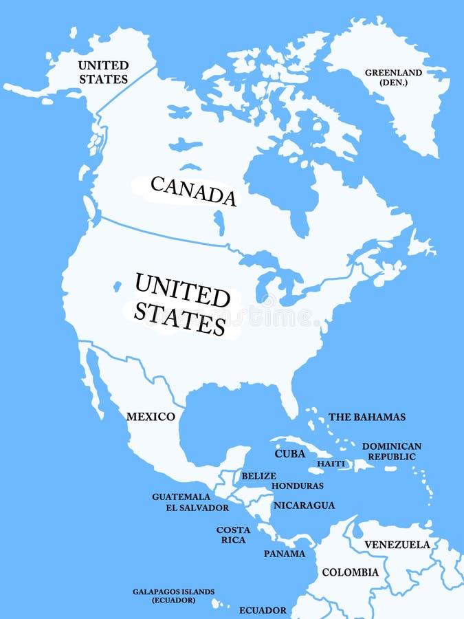 Χάρτης της Βόρειας Αμερικής διανυσματική απεικόνιση