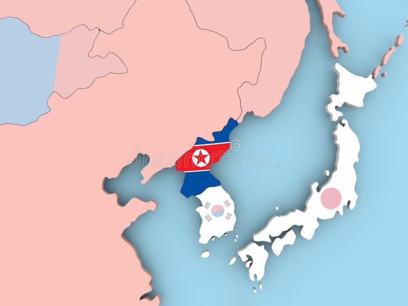 Χάρτης της Βόρεια Κορέας με τη σημαία στη σφαίρα απεικόνιση αποθεμάτων