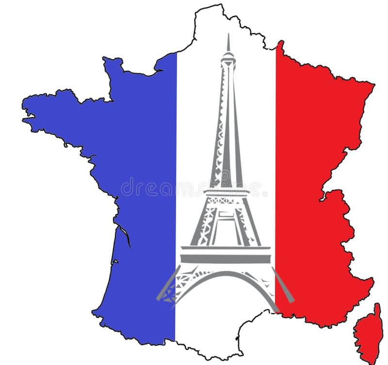Χάρτης της Γαλλίας, της εθνικής σημαίας και του πύργου του Άιφελ στοκ φωτογραφία