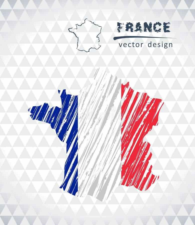 Χάρτης της Γαλλίας με σχεδιαζόμενο το χέρι χάρτη σκίτσων μέσα επίσης corel σύρετε το διάνυσμα απεικόνισης διανυσματική απεικόνιση