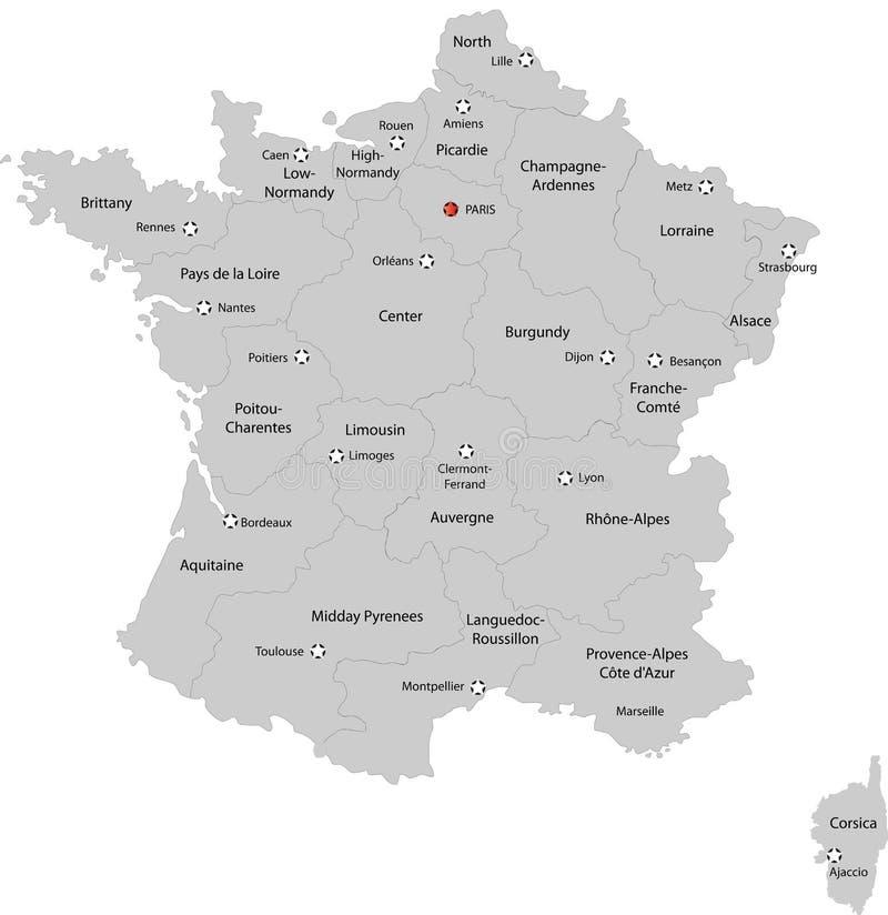 Χάρτης της Γαλλίας ελεύθερη απεικόνιση δικαιώματος