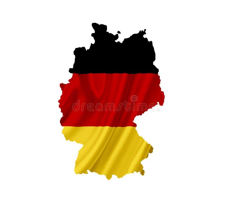 Χάρτης της Γερμανίας με την κυματίζοντας σημαία που απομονώνεται στο λευκό στοκ εικόνα
