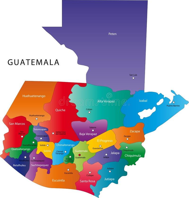 Χάρτης της Γουατεμάλα ελεύθερη απεικόνιση δικαιώματος
