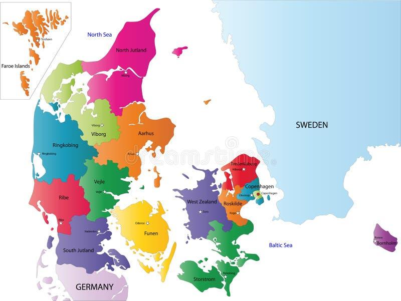 Χάρτης της Δανίας διανυσματική απεικόνιση