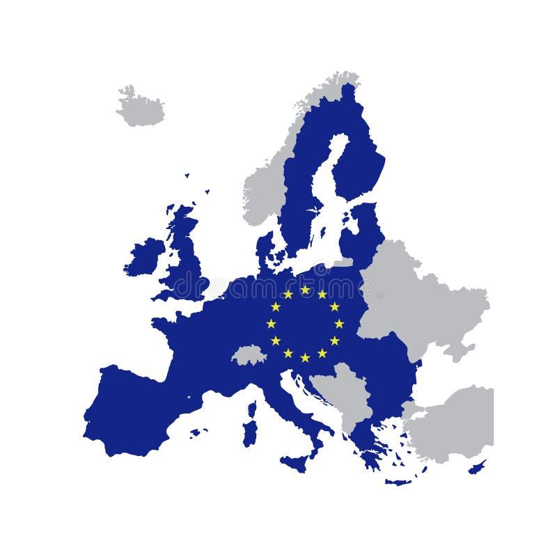 Χάρτης της Ευρωπαϊκής Ένωσης με τα αστέρια της Ευρωπαϊκής Ένωσης ελεύθερη απεικόνιση δικαιώματος