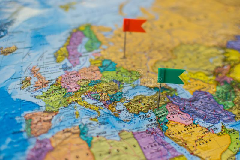 Χάρτης της Ευρώπης και των χωρών Ρωσία-οικοδεσποτών στοκ εικόνα με δικαίωμα ελεύθερης χρήσης