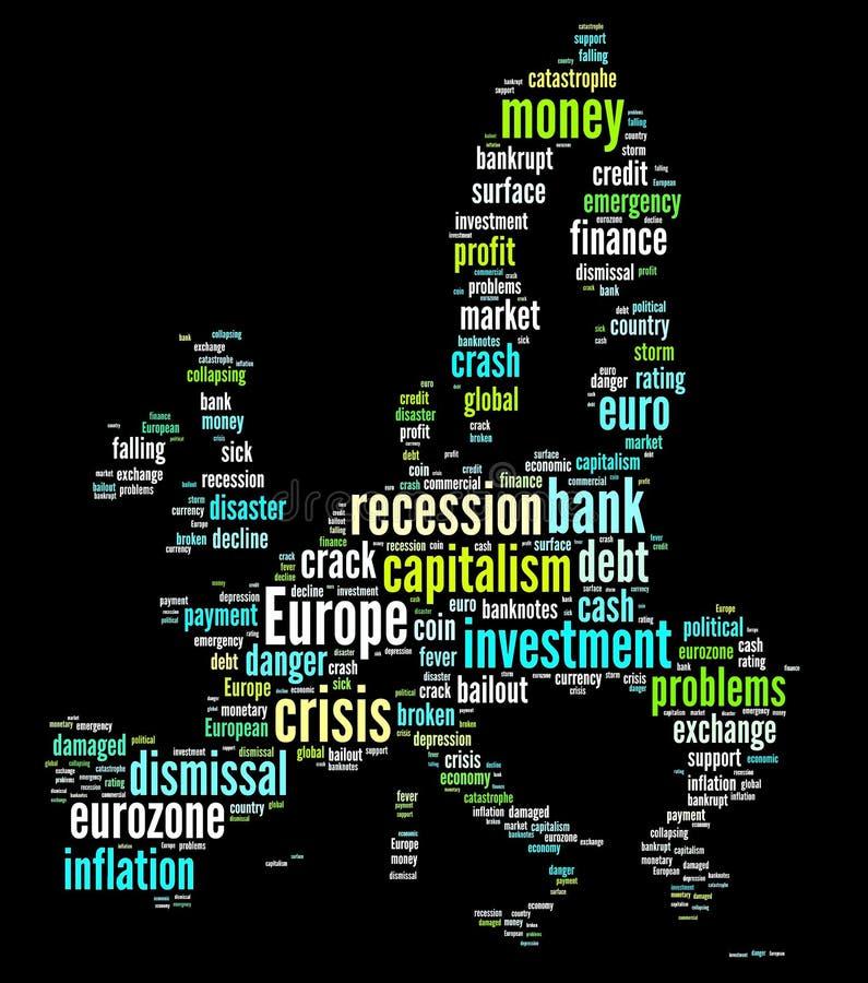 χάρτης της Ευρώπης κρίσης διανυσματική απεικόνιση
