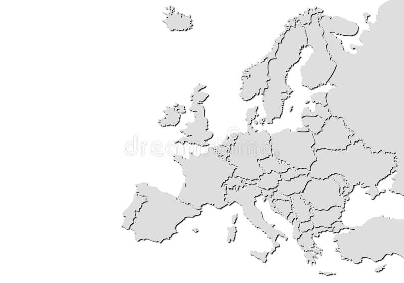Χάρτης της Ευρώπης με τις σκιές ελεύθερη απεικόνιση δικαιώματος