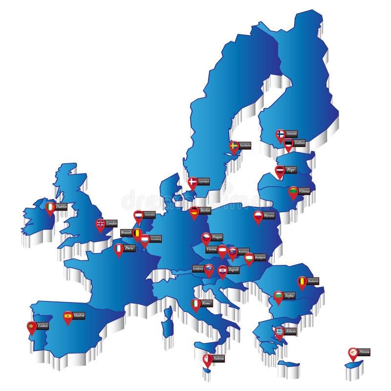 Χάρτης της Ευρώπης με τους δείκτες του κεφαλαίου στοκ φωτογραφία με δικαίωμα ελεύθερης χρήσης