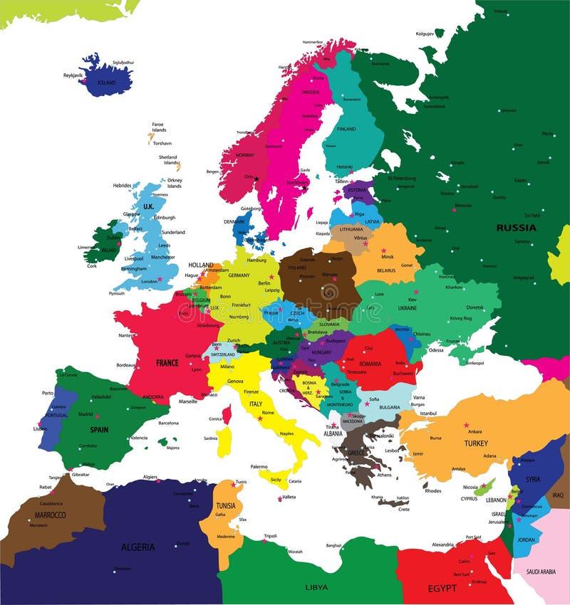 χάρτης της Ευρώπης πολιτι& απεικόνιση αποθεμάτων