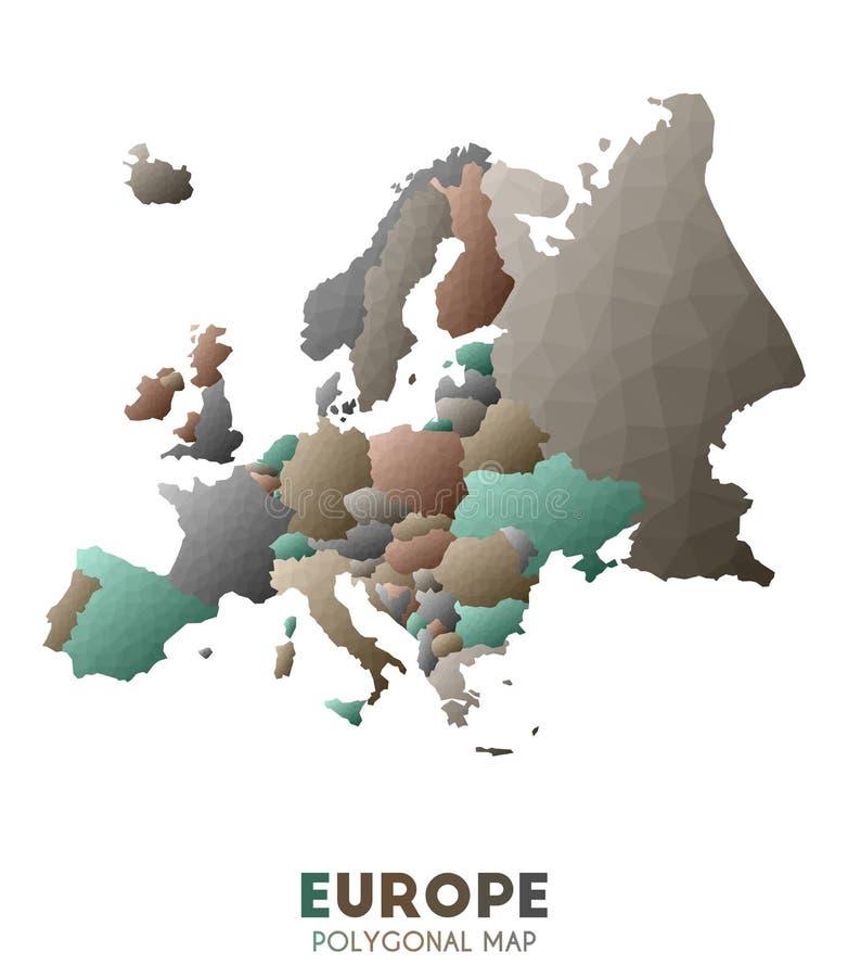 Χάρτης της Ευρώπης πραγματικός χαμηλός πολυ χάρτης ηπείρων ύφους απεικόνιση αποθεμάτων