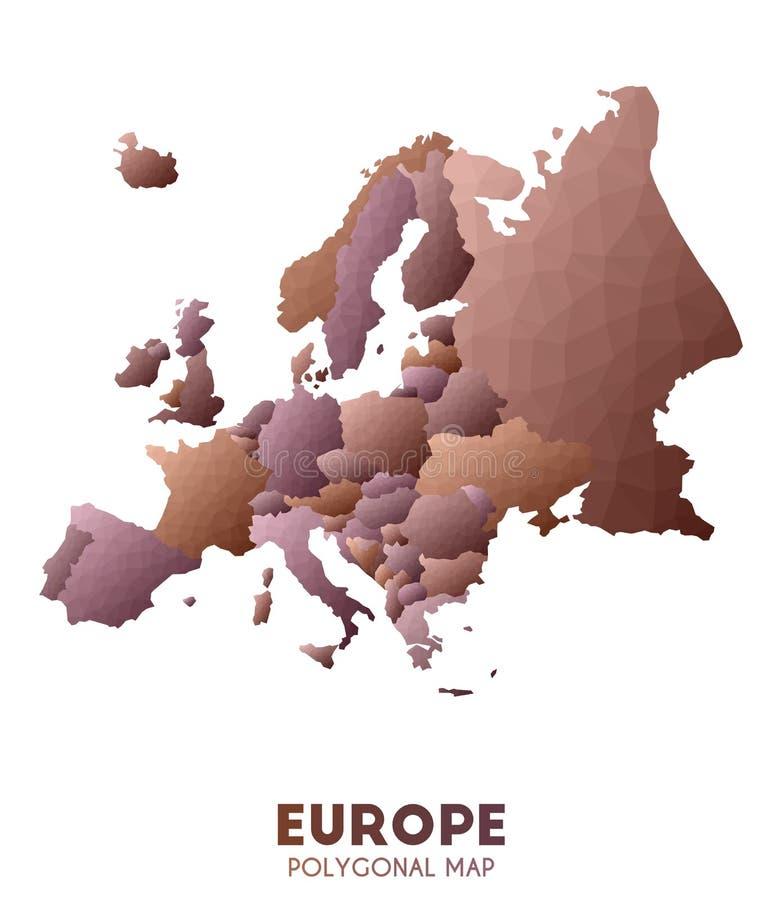 Χάρτης της Ευρώπης πραγματικός χαμηλός πολυ χάρτης ηπείρων ύφους διανυσματική απεικόνιση