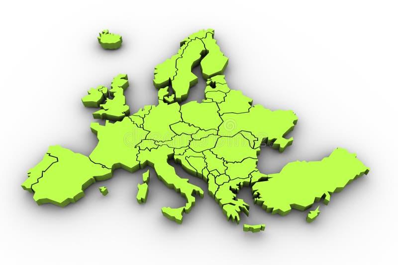 Χάρτης της Ευρώπης σε πράσινο διανυσματική απεικόνιση