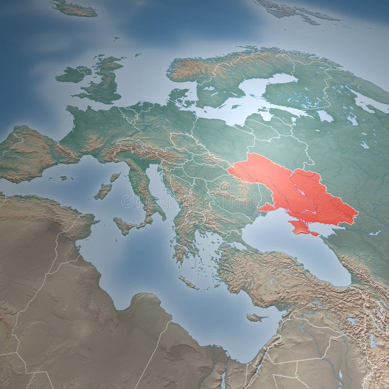 Χάρτης της Ευρώπης, της Μέσης Ανατολής, της Κριμαίας και της Ουκρανίας διανυσματική απεικόνιση