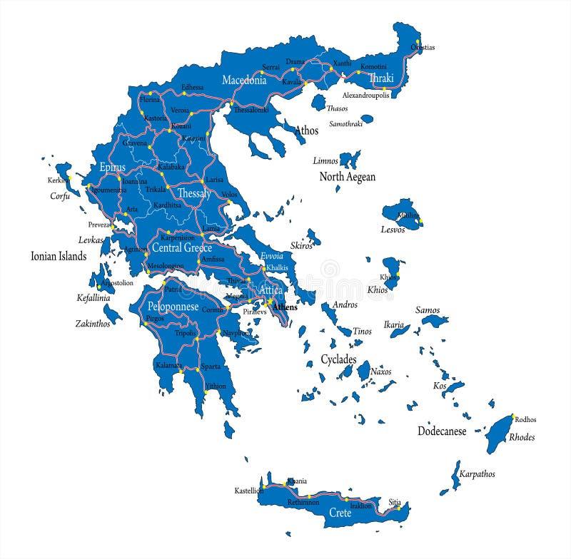 Χάρτης της Ελλάδας διανυσματική απεικόνιση
