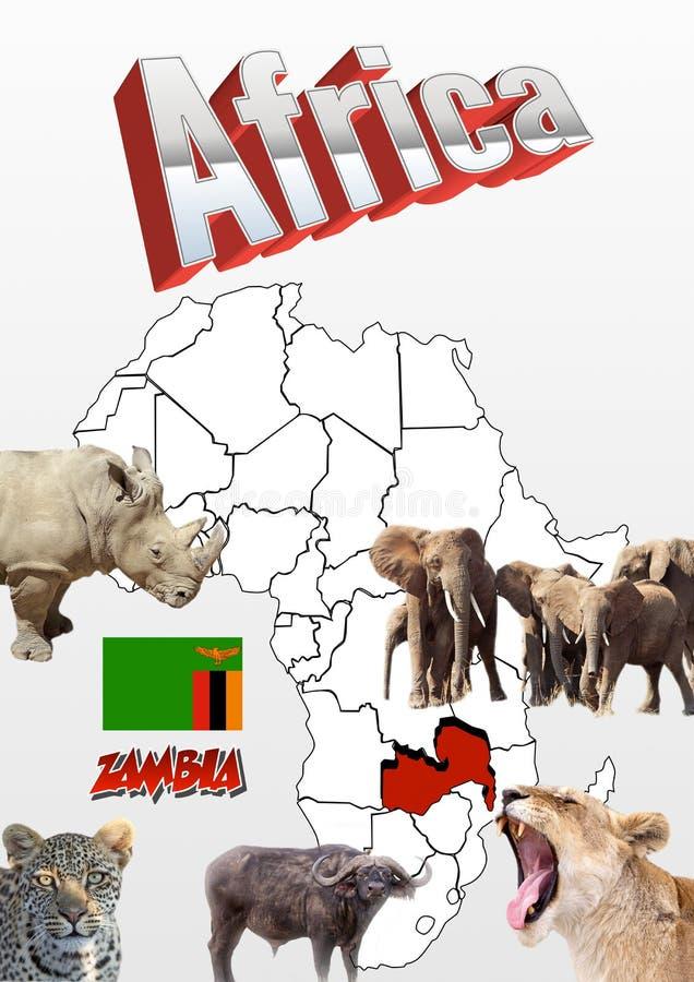 Χάρτης της Ζάμπια με τη σημαία και τα ζώα στοκ φωτογραφία με δικαίωμα ελεύθερης χρήσης