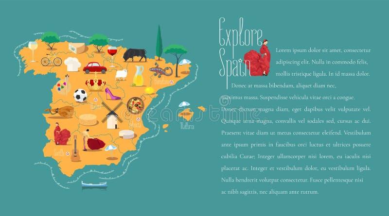 Χάρτης της διανυσματικής απεικόνισης προτύπων της Ισπανίας απεικόνιση αποθεμάτων