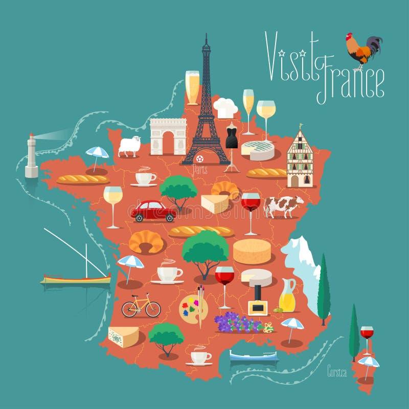 Χάρτης της διανυσματικής απεικόνισης της Γαλλίας, σχέδιο διανυσματική απεικόνιση