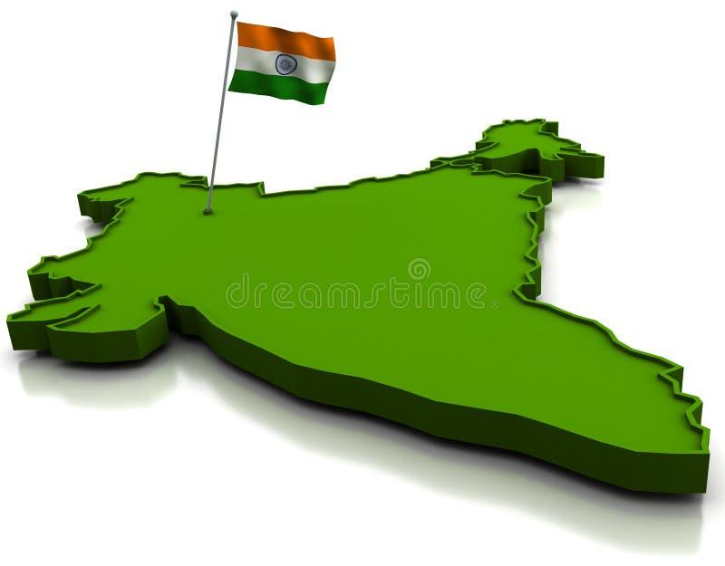 χάρτης της Ινδίας σημαιών διανυσματική απεικόνιση