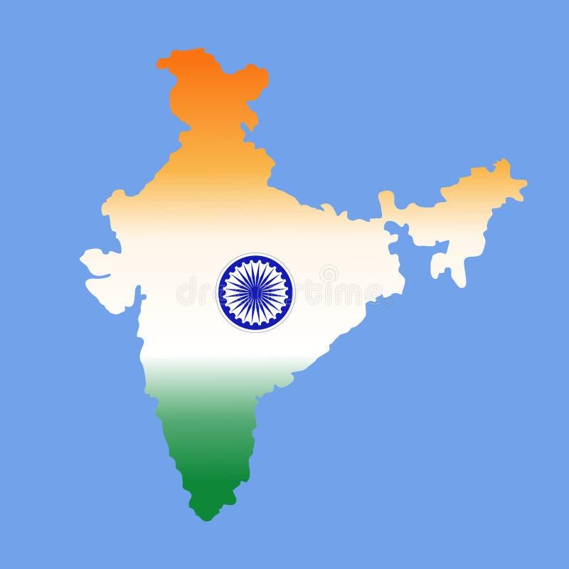 Χάρτης της Ινδίας στα χρώματα της εθνικής σημαίας Τυποποιημένο διάνυσμα χρώματος απεικόνιση αποθεμάτων