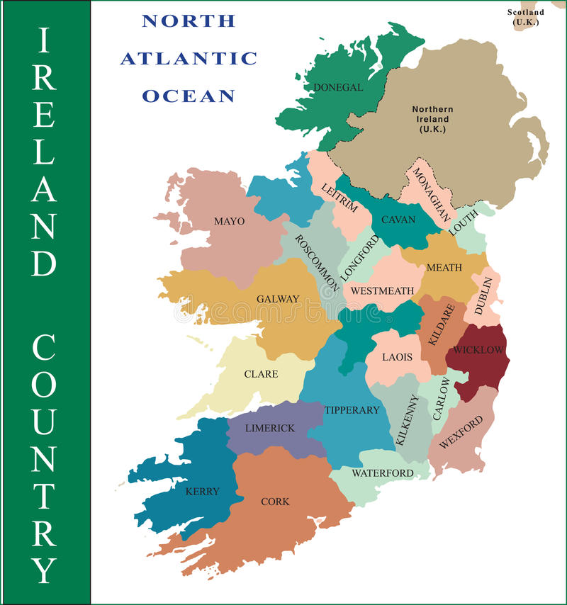 χάρτης της Ιρλανδίας διανυσματική απεικόνιση