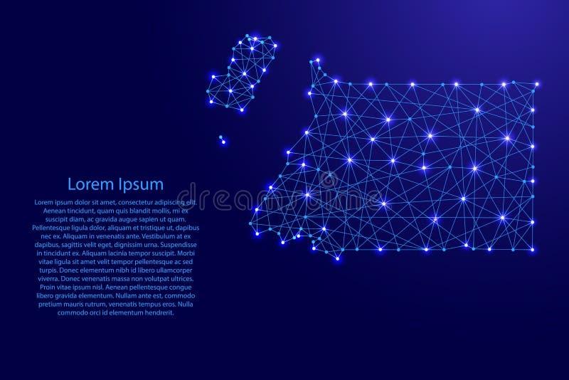 Χάρτης της Ισημερινής Γουινέας από τις polygonal μπλε γραμμές, καμμένος διανυσματική απεικόνιση αστεριών ελεύθερη απεικόνιση δικαιώματος
